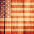 Wooden grunge background with USA flag — Stock Photo