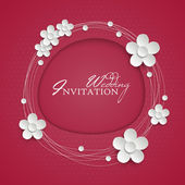 Invitation design with paper white flowers. — Stock Vector