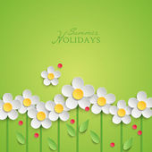 Summer floral background with paper daisy flowers. — Stock Vector