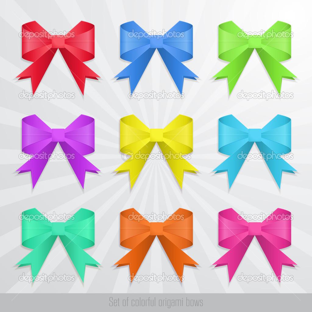 Set of colorful origami bows. — Stock Vector © maglara ... - photo#34