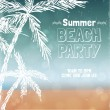 Retro summer beach party poster design. — Vector de stock