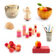 Set of red tone objects on white background — Stock Photo