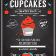 Stock Vector: Cupcake bakery shop poster on chalkboard.