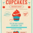 Cupcake bakery shop poster. — Stock Vector