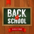 Stock Vector: Back to school poster with text on chalkboard on wooden background.