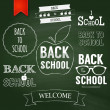 Back to school text on chalkboard. — Imagen vectorial