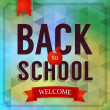 Back to school poster with text and banner on geometrical background — Stock Vector #28191539