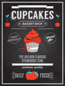 Cupcake bakery shop poster on chalkboard. — Stock Vector