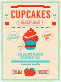Cupcake bakery shop poster. — Stock Vector