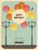 Birthday greeting card design in retro style — Stock Vector