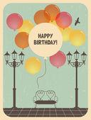 Birthday greeting card design in retro style — Stock Vector