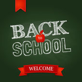 Back to school poster with text on chalkboard. — ストックベクタ