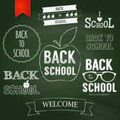 Back to school text on chalkboard. — Vector de stock
