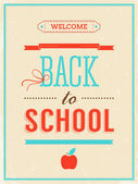 Back to school poster with text on retro background. — Stock Vector
