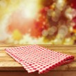 Empty wooden deck table with tablecloth — Stock Photo #28905057