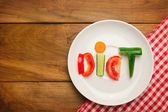 Plate with vegetables and word diet — Stock Photo