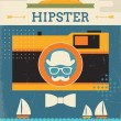 Retro summer vacation poster design with hipster style. — Stock Vector