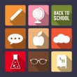 Set of flat icons for back to school design. — Stock Vector