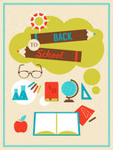 Back to school poster with icons and symbols — Stock Vector