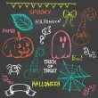 Halloween hand drawing doodles on chalkboard — Stock Vector