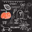 Halloween hand drawing doodles on black chalkboard — Stock Vector
