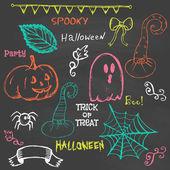 Halloween hand Rita doodles på svarta tavlan — Stockvektor