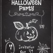 Halloween party invitation design on chalkboard. — Stock Vector