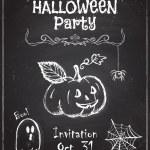 Halloween party invitation design on chalkboard. — Stock Vector