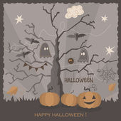 Halloween greeting card design. — Stock Vector