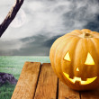 Halloween pumpkin over dramatic background — Foto de Stock