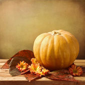 Pumpkin with autumn leaves and flowers on wooden table — Stock Photo