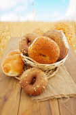 Freshly baked bread and buns — Stock Photo