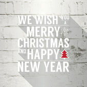 Merry Christmas and Happy New Year text on white brick stone wall. — Stock Vector