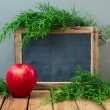 Christmas background with chalkboard — Stock Photo