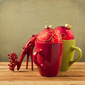 Cups with Christmas ornaments — Stok fotoğraf