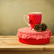 Christmas tea cup with gift box — Stock Photo #32336959