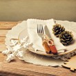 Retro style christmas table setting — Stockfoto