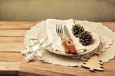 Retro style christmas table setting — Stock Photo