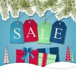 Christmas sale poster sign design. — Stock Vector