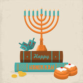 Happy Hanukkah greeting card — Stock Vector