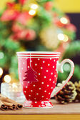 Tea cup with paper Christmas tree — Stock Photo