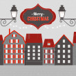 Vintage Christmas winter town — Stock Vector #34708567