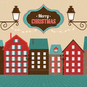 Vintage Christmas winter town — Vector de stock