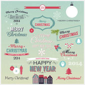 Christmas set of greetings — Stock Vector