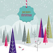 Christmas vintage poster design — Vector de stock