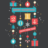 Christmas and Happy New Year poster — Stockvector