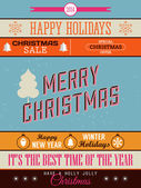 Christmas retro set of lettering — Vector de stock