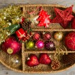 Christmas decoration in box — Foto de stock #34921931