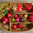 Christmas decoration in box — Stock fotografie #34921931