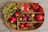 Christmas decoration in box — 图库照片